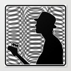 Bass Guitar Player Silhouette B/W Canvas Print