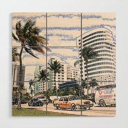 Taxi Miami Beach Florida ArtWork Painting Wood Wall Art