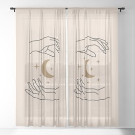 Midcentury Magic 94 Minimalist Magical Mystic Wands With Moon Bohemian Boho Style Sheer Curtain