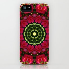 Happy Valentine's Day, Flower Mandala, Red blossoms with hearts iPhone Case
