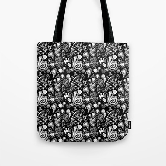 Paisley Power Black and White Tote Bag