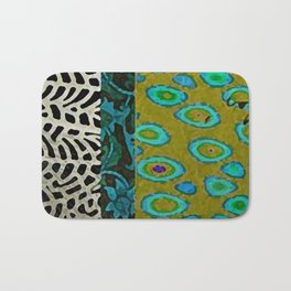 Teal & Olive Abstract Art Collage Bath Mat