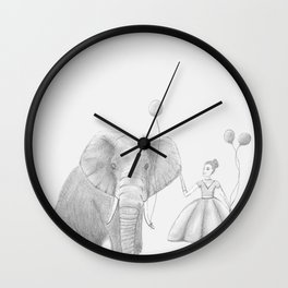 A girl and her elephant Wall Clock