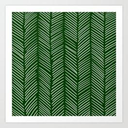 Forest Green Herringbone Art Print