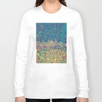 philadelphia Long Sleeve T-shirts featuring philadelphia city skyline map by Bekim ART