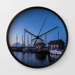 Blue hour at harbour I - Ocean Summer Night Boats Wall Clock