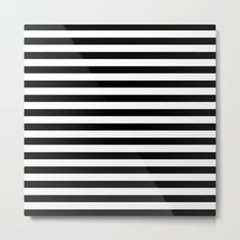 Modern Black White Stripes Monochrome Pattern Metal Print