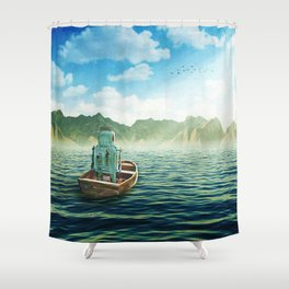Swim back to shore Shower Curtain