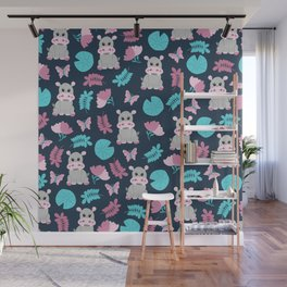 Cute Pink Teal Hippo Floral Butterfly Lily Pad Wall Mural