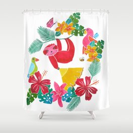 Sloth with pineapple Shower Curtain