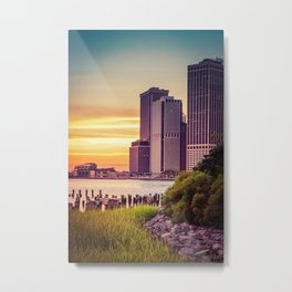 Sunset Overlooking Manhattan Metal Print
