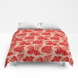 Pegasus Pattern Beige and Red Comforters