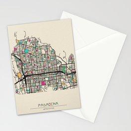 Colorful City Maps: Pasadena, California Stationery Cards