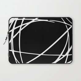 Black and White Circles and Swirls Modern Abstract Laptop Sleeve