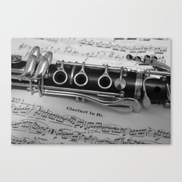 B Flat Clarinet in Black & White Canvas Print