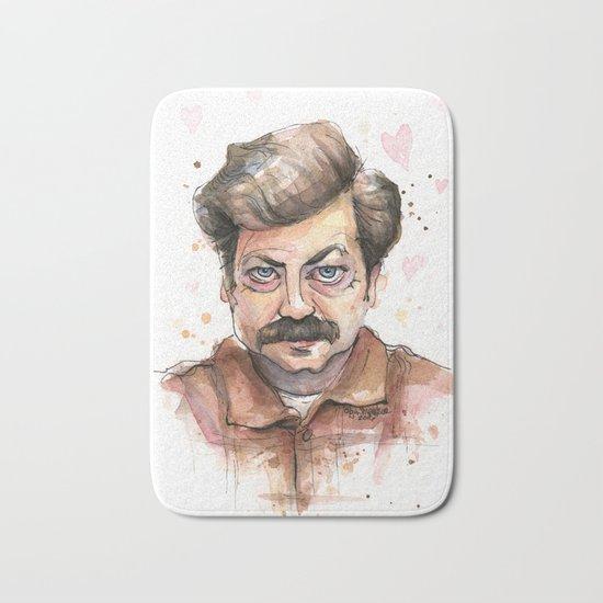 Ron Swanson Love Valentine Portrait Bath Mat