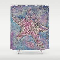 starfish Shower Curtains featuring Starfish by Christine's heART
