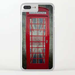 Call Me Red Telephone Box Clear iPhone Case