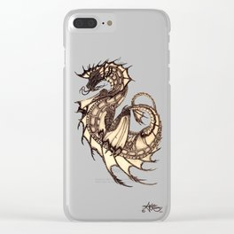 """Tsunami"" by Amber Marine ~ Sea Dragon ~ Graphite & Charcoal Illustration, (Copyright 2005) Clear iPhone Case"