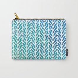 Handpainted Herringbone Chevron pattern-small-aqua watercolor on white Carry-All Pouch