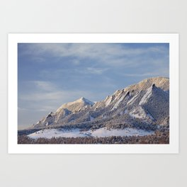 Winter Snow on Flatirons in Boulder Colorado Art Print