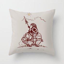 Nature Warriors: Battle Hedgehog Throw Pillow