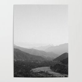 Black and white Atlas Mountains of Ourika Morocco Poster