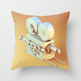 Low Poly Film Camera Throw Pillow
