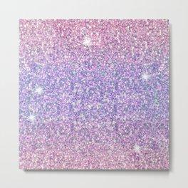 Pink & Lilac Unicorn Glitter Ombre Metal Print