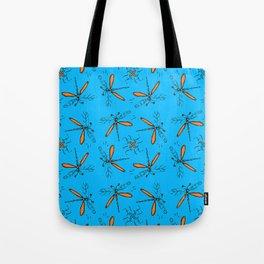 Orange Dragonflys On Tuquoise Background Tote Bag