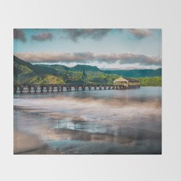 Hanalei Pier Kauai Hawaii  Throw Blanket