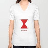 black widow V-neck T-shirts featuring Black Widow by Kayla Nicole