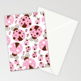 Ladybugs (Ladybirds, Lady Beetles) - Pink Brown Stationery Cards