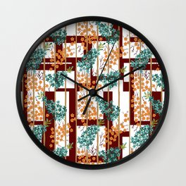 Flowers in Movement over White Shapes Wall Clock