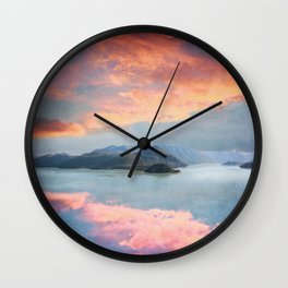 Sunset Over Lake Como Italy Wall Clock