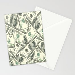 Money One Hunderd Dollar Bills Cash Millionaire Stationery Cards