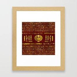 Golden Egyptian Scarab on red leather Framed Art Print