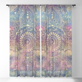 Gold watercolor and nebula mandala Sheer Curtain