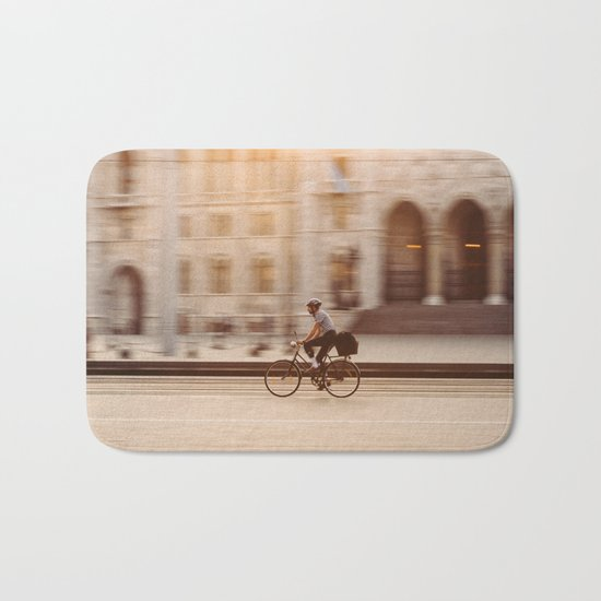 Riding in Budapest Bath Mat
