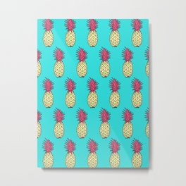 Pineapple Jive - Teal Wineberry Metal Print