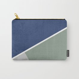 Navy Sage Gray Geometric Carry-All Pouch