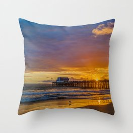 Lone Seagull at Sunset - Newport Pier Throw Pillow
