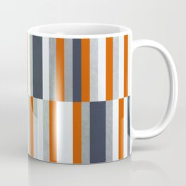 Orange, Navy Blue, Gray / Grey Stripes, Abstract Nautical Maritime Design by Coffee Mug