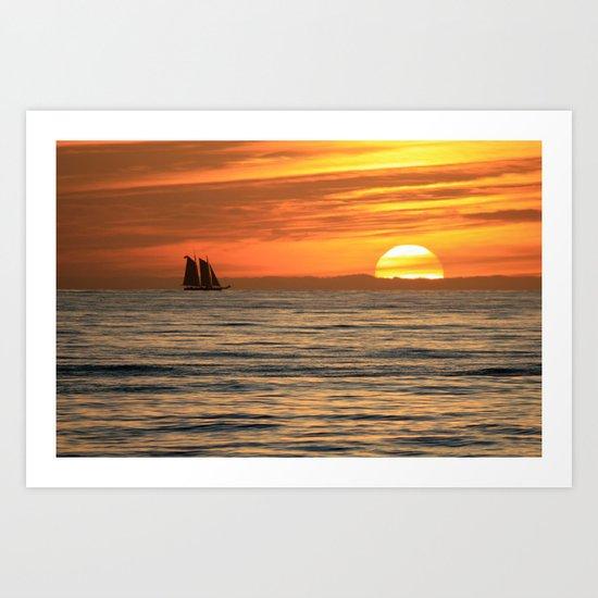 Sunset sail Art Print