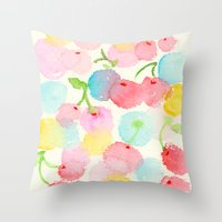 cherry blossom Throw Pillows featuring cherry blossom by zeze