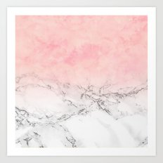 Modern blush pink watercolor ombre white marble Art Print