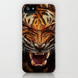 Angry Tiger Breaking Glass Yelow iPhone Case