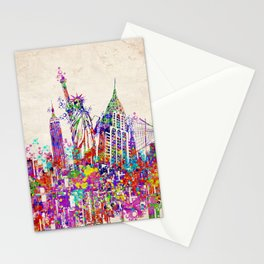New York skyline colorful collage Stationery Cards