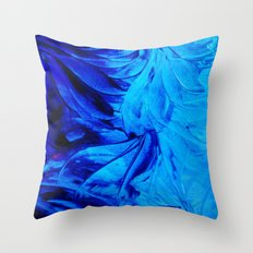 PETAL PINWHEELS - Deep Indigo Blue Royal Blue Turquoise Floral Pattern Swirls Ocean Water Flowers Throw Pillow