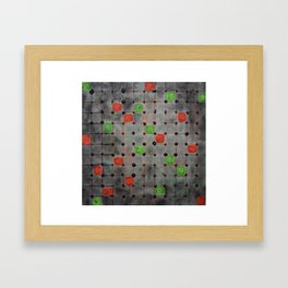 Grid with Green and Orange Highlights Framed Art Print